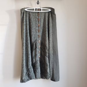 Vintage Speed Limit MPH boho skirt with embroidery